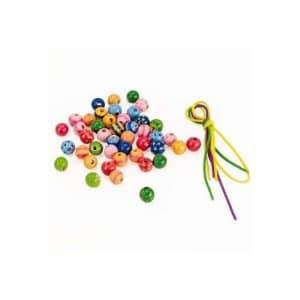 Perles bois décorées