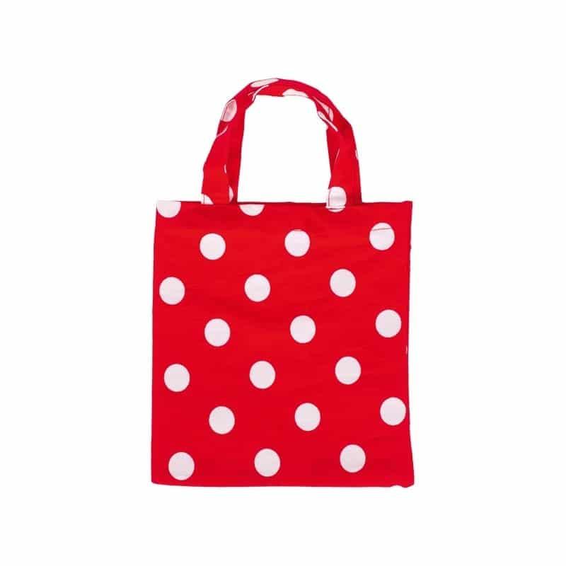 sac en tissu rouge à pois blancs