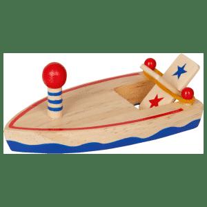 bateau jouet en bois avec moteur à catapulte